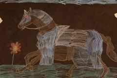 Drawing of horse. A horse designed by boy on a black background stock images