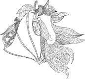Drawing horse zentangle style, stylized illustration of horse in tangle doodle style. vector illustration