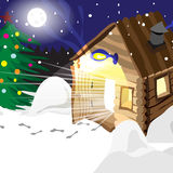 Drawing hot baths Russian winter in Christmas night Royalty Free Stock Images