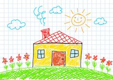 Drawing of house Royalty Free Stock Images