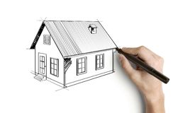 Drawing house. Hand drawing house on a white background stock photography