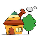 Drawing house. And tree background Royalty Free Stock Images