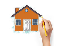 Drawing house Royalty Free Stock Photo