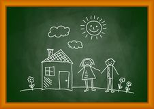 Drawing of house and children Stock Image