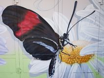 Butterfly on a camomile, graffiti on house doors, an entrance to the utility room. The drawing on a house door - A butterfly on a camomile stock image