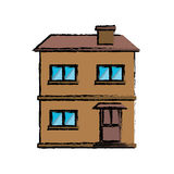 Drawing house facade residential estructure. Vector illustration eps 10 Royalty Free Stock Photo
