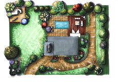 Drawing house garden cottage. The view from the top. Landscape architecture plan design in the courtyard for Villa Royalty Free Stock Images