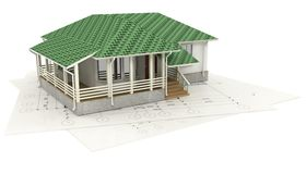 Drawing of the house and its 3D model Royalty Free Stock Image
