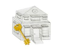 Drawing house and key Stock Photos