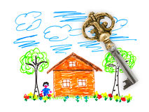 Drawing house and key Stock Photography