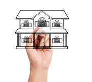 Drawing a house model Royalty Free Stock Image
