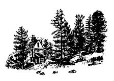 Drawing a house among the pines and firs  illustration Stock Image