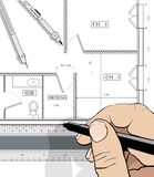 Drawing an house plan Stock Photos