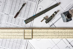 Drawing house plan, pen and ink Stock Photos