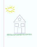 Drawing of house , sun and grass con squared paper Stock Images