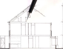 Drawing of a house, in work Stock Image