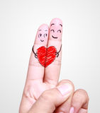 Drawing human finger falling in love symbol Stock Photography