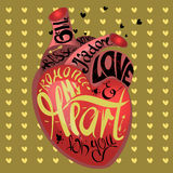 Drawing the human heart on gold background pattern of cartoon hearts, humor comic style. Gothic text- my heart for you Royalty Free Stock Photos