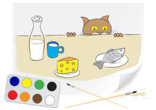 Drawing hungry cat. Children drawing a hungry cat a brush paints on a paper Stock Image
