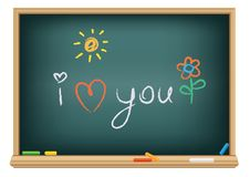 Drawing i love you by a chalk Stock Photo
