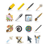 Drawing icon set Royalty Free Stock Image