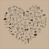Drawing icons heart align Royalty Free Stock Images
