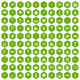100 drawing icons hexagon green. 100 drawing icons set in green hexagon isolated vector illustration Royalty Free Stock Photo