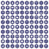 100 drawing icons hexagon purple. 100 drawing icons set in purple hexagon isolated vector illustration Royalty Free Stock Photos