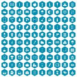 100 drawing icons sapphirine violet. 100 drawing icons set in sapphirine hexagon isolated vector illustration Royalty Free Illustration