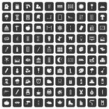 100 drawing icons set black. 100 drawing icons set in black color  vector illustration Royalty Free Stock Photography