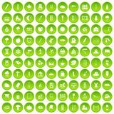 100 drawing icons set green circle. Isolated on white background vector illustration Stock Photography
