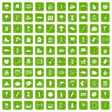 100 drawing icons set grunge green. 100 drawing icons set in grunge style green color isolated on white background vector illustration Royalty Free Stock Photography