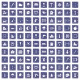 100 drawing icons set grunge sapphire Stock Images