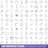 100 drawing icons set, outline style Royalty Free Stock Photography