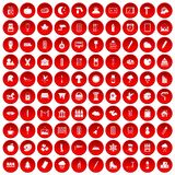 100 drawing icons set red Royalty Free Stock Photo