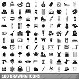 100 drawing icons set, simple style Royalty Free Stock Photo