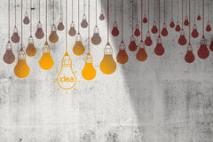 Drawing idea light bulb Royalty Free Stock Photography