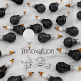 Drawing idea pencil and light bulb concept creative Royalty Free Stock Photos