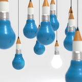 Drawing idea pencil and light bulb concept creative and leadersh Royalty Free Stock Image