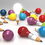 Drawing idea pencil and light bulb concept creative Royalty Free Stock Images