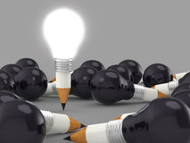 Drawing idea pencil and light bulb concept creative Royalty Free Stock Photo