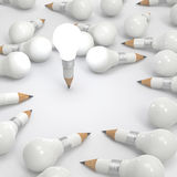 Drawing idea pencil and light bulb concept Stock Photography