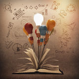 Drawing idea pencil and light bulb concept outside the book as c Royalty Free Stock Photo