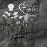 Drawing idea pencil and light bulb concept outside the box as cr Stock Images
