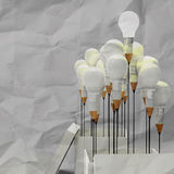 Drawing idea pencil and light bulb concept outside the box as cr Royalty Free Stock Image