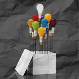 Drawing idea pencil and light bulb concept outside the box Stock Images