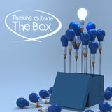 Drawing idea pencil and light bulb concept outside the box Royalty Free Stock Images