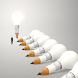 Drawing idea pencil and light bulb 3d concept Royalty Free Stock Photos