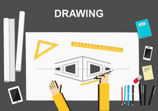 Drawing illustration. Architecture concept.  Flat design illustration concepts for construction, working, drawing, architectural Royalty Free Stock Photo