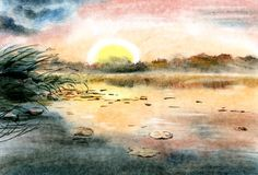 Drawing illustration watercolor. Above the evening lake, the sun sets, pink and blue sky reflected in the lake. stock illustration